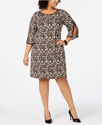 MSK Plus Size Animal-Print Split-Sleeve Dress