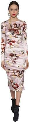 Dolce & Gabbana Angles Printed Stretch Satin Dress