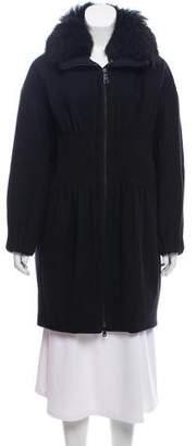 Prada Fur-Trimmed Virgin Wool Coat