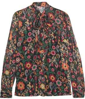 RED Valentino Pussy-Bow Printed Crinkled Silk-Georgette Blouse