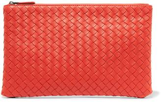 Bottega Veneta - Intrecciato Leather Pouch - Tomato red $690 thestylecure.com