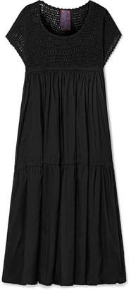 Yvonne S - Wind Crochet-knit And Cotton-voile Midi Dress - Black
