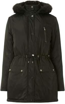 Dorothy Perkins Womens Black Faux Fur Parka Coat