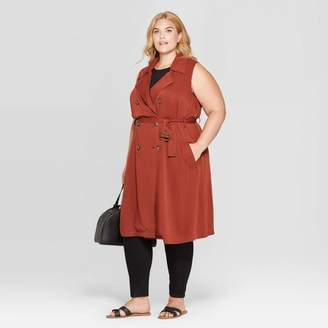 Ava & Viv Women's Plus Size Sleeveless Trench Coat