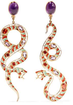 Enameled Gold-tone Multi-stone Earrings - one size Etro XfWae