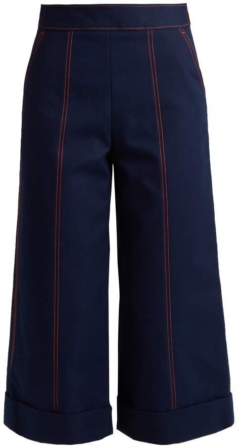 MSGM Wide-leg cropped cotton trousers