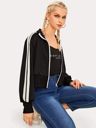 Shein Side Striped Zipper Up Jacket