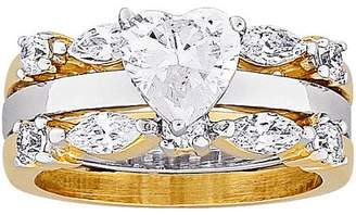 Generic 3.48 Carat T.G.W. Solitaire Heart CZ 14kt Gold-Plated Bridal Set