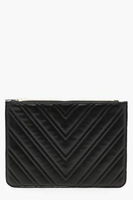 boohoo Chevron Quilt Zip Top Clutch
