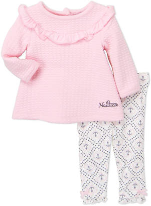 Nautica Newborn Girls) Two-Piece Quilted Tunic & Anchor Leggings Set