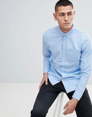 Hollister Poplin Icon Seagull Logo Button Down Collar Stretch Slim Fit Pocket Shirt in Light Blue