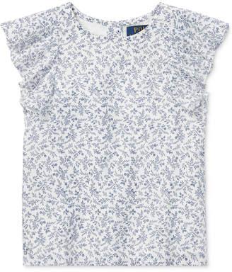 Polo Ralph Lauren Little Girls Floral-Print Flutter-Sleeve Cotton Top
