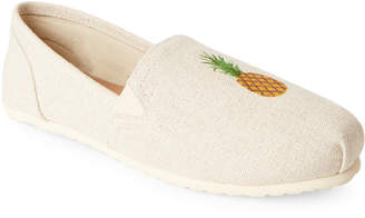 Esprit Ivory Toso Embroidered Pineapple Slip-Ons