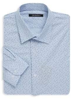 Saks Fifth Avenue BLACK Floral Dotted Dress Shirt