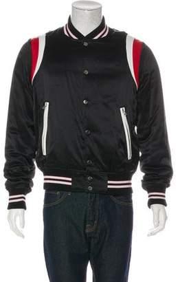 Amiri 2017 Silk Leather-Trimmed Bomber Jacket