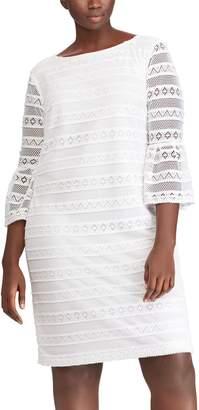 Chaps Plus Size Lace Bell-Sleeve Shift Dress