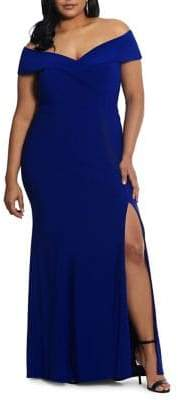 6fa031bc77877 Xscape Evenings Plus Off-The-Shoulder Short-Sleeve Gown