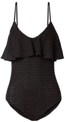 By Malene Birger Enimar Ruffled Metallic Ribbed Stretch-knit Bodysuit - Black