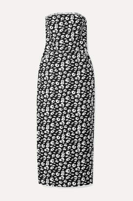 Brandon Maxwell Strapless Frayed Printed Silk Midi Dress - Black