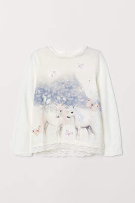 H&M Lace-trimmed Jersey Top - White