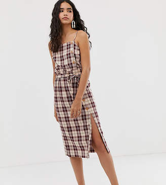 Miss Selfridge midi skirt with paper bag waist in check