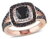 Black Diamond Sonatina 14K Rose Gold, and Diamond Double Halo Engagement Ring