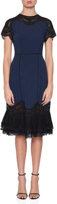 Jonathan Simkhai Applique Short Sleeve Ruffle Hem Dress