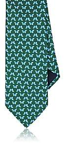 Barneys New York MEN'S BUTTERFLIES SILK TWILL NECKTIE-GREEN
