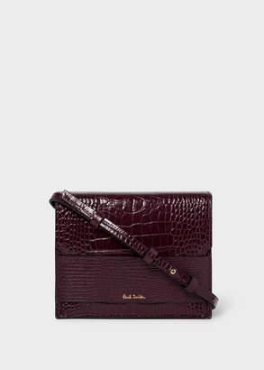 Paul Smith Women's Burgundy Mock-Croc Cross-Body Bag