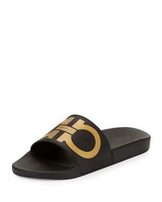 Salvatore Ferragamo Groove Gancini Slide Sandal, Black/Gold $195 thestylecure.com