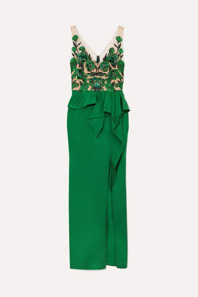 Marchesa Notte - Beaded Mesh And Crepe Peplum Gown - Emerald