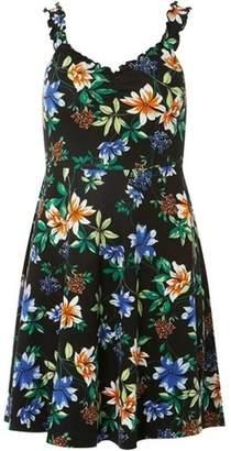 Dorothy Perkins Womens Petite Black Frilled Floral Print Sundress
