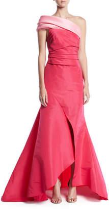 Oscar de la Renta One-Shoulder Draped-Bodice Slit-Front Evening Gown