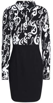 Love Moschino Paneled Printed Crepe And Cady Mini Dress