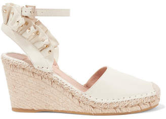 Valentino Garavani Studded Ruffled Textured-leather Espadrille Wedge Sandals - Ivory