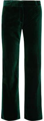 Bella Freud 1976 Cotton-velvet Flared Pants - Green
