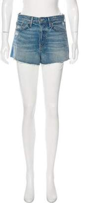 GRLFRND Cindy Distressed High-Rise Mini Shorts