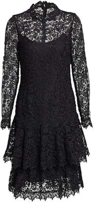 Teri Jon By Rickie Freeman Floral Lace Long-Sleeve Tiered A-Line Dress
