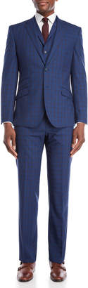 English Laundry 3-Piece Bright Blue Windowpane Wool Suit