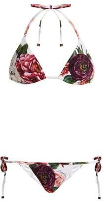 Dolce & Gabbana Floral Print Adjustable Bikini - Womens - Pink Multi