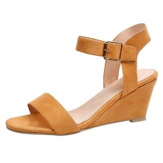 bef8625974 Kadola Women's Ankle Strap Low Wedge Sandal Ladies Fashion Heel Buckle Strap  Roman Shoes Size 5