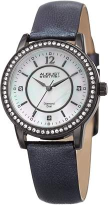 August Steiner Women's Quartz Stainless Steel and Leather Casual Watch, Color Black (Model: AS8227BK)