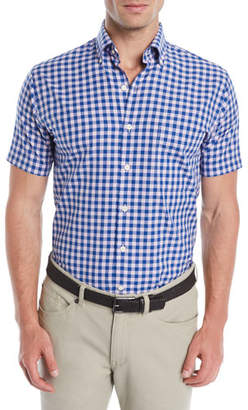 Peter Millar Men's Crown Finish Mont Blanc Check Short-Sleeve Sport Shirt