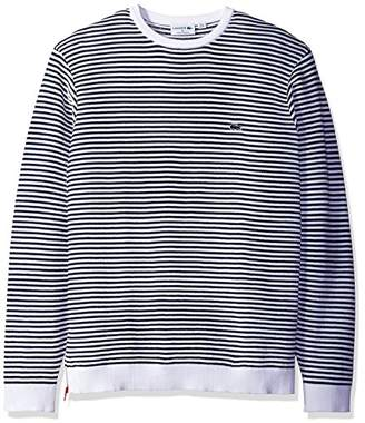 Lacoste Men's Made in France Stripe Crew with Side Zipper Sweater