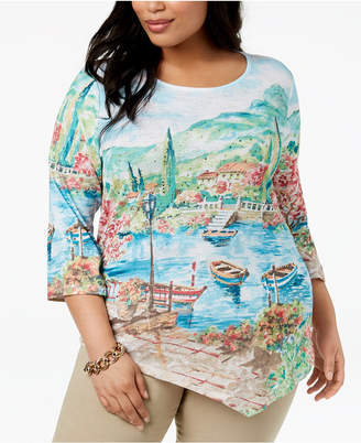 Alfred Dunner Scottsdale Plus Size Scenic-Print Top