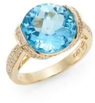Effy Blue Topaz, Diamond, 14K Yellow Gold Ring