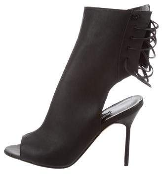 Manolo Blahnik Peep-Toe Lace-Up Booties