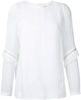 3.1 Phillip Lim ruffle and zip sleeve detail top