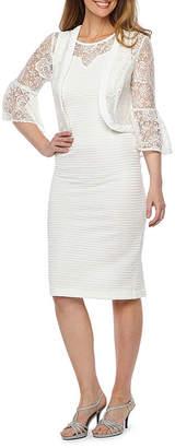 MAYA BROOKE Maya Brooke 3/4 Bell Sleeve Lace Jacket Dress