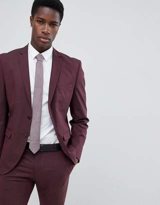 Selected Slim Fit Suit Jacket In Damson